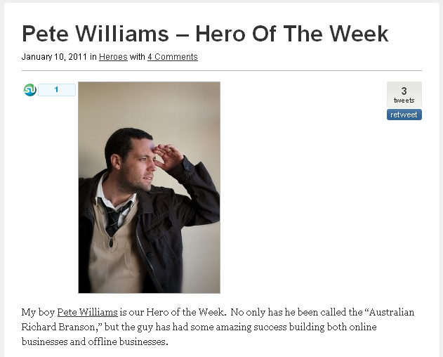 Pete is Hero of the Week